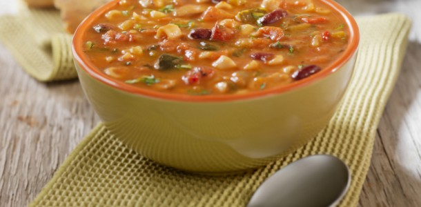 Minestrone Soup with Crusty Bread- Photographed on Hasselblad H3D2-39mb Camera